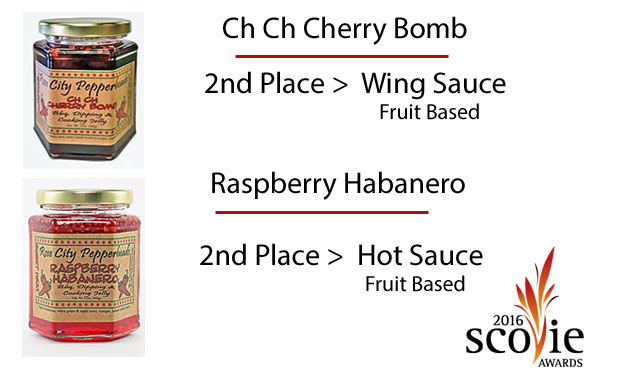 Scovie prize award winning pepper jellies Ch Ch Cherry Bomb and Raspberry Habanero